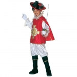 Costume musketeer - red Shirt, trousers and cloak are included