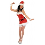 Mmiss Santa short Costume, belt, hat, plush cuffs. Velvet.