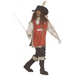 Costume Musketeer XL Shirt with overcoat, pants, boot covers, hat with feather