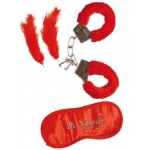 Lover's fun set plush handcuffs, blindfold, 2 feathers