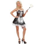 Sexi French Maid - white Dress, headpiece, choker, garter