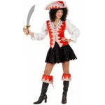 Red Regal Pirate Lady Shirt with vest, skirt, boot cuffs, hat. Velvet material