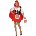 Red Capelet Corset, skirt with apron, hooded capelet