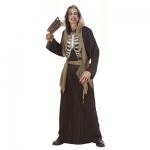 Zombie Costume Hooded robe, holographic bones chest, belt