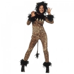 Tigress cat costume Bodysuit with tail and marabou, headpiece with marabou