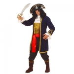 Costume Pirat of Seven Seas XL: Coat, Vest with jabot, Cuffs, Trousers, Belt, Boot covers, Hat, Patch