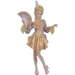 Marquise de Pompadour Dress, bow top, thigh highs, hair clip with feather, fan
