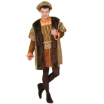 Tudor Man Costume Coat, overcoat, pantyhose, belt, hat