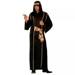 arab Sheik black Robe, over-robe, belt, turban