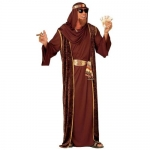 Arab Sheik brown Robe, over-robe, belt, turban