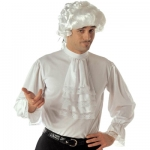 Cavalier colonial shirt Colonial style mens white shirt with jabot and elasticated cuffs with lace edges.  Shirt is made from stretchy material and fastens at the top back with velcro.