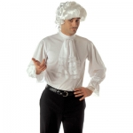 Cavalier colonial shirt XL Colonial style mens white shirt with jabot and elasticated cuffs with lace edges.  Shirt is made from stretchy material and fastens at the top back with velcro.