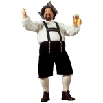 XL Bavarian Man Costume Adult size XL German or Austrian style Bavarian beer hall style fancy dress costume, features shorts with attached braces. One size, will fit up to a medium 46 inch chest.