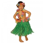 De luxe set HAWAII children skirt with flowers band, chaplet on neck, chaplet on had, 2 chaplet on hands