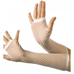 White fingerless fishnet gloves 33cm long