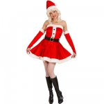 Miss Santa Dress Velvet Dress, Belt, Hat, Gloves
