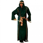 Arab Sheik green Robe, over-robe, belt, turban