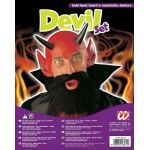 Devil set Hood with horns, moustache and beard