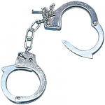 Metal handcuffs with keys Made of steel. Realistic.