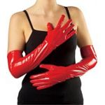 Red vinyl gloves 56 cm long